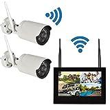 ワイヤレス防犯カメラ2台セット 10インチモニター+Wi-Fi監視カメラ2台 屋外使用可 スマホアプリ対応 遠隔監視 日本語メニュー 別売HDD内蔵可 FMTWF6112
