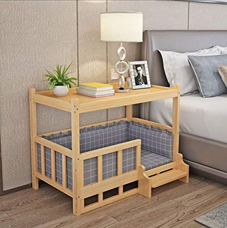 インストラクター原始的な一口Cat and Dog Wood Bed, Wooden Pet House, Luxury Traditional Living Room Pet Bed with Top Cover - Comfortable Ultra Tough Wood All Season Bedside Table Cat & Dog Bed (S - 45*30*60 CM)