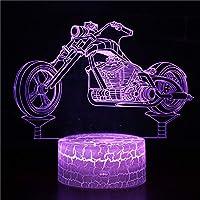 LanXi LEDライト MY280~MY286 テーブルランプ 常夜灯 7色変換 オートバイ/バイク3Dパターン USB給電・単4電池給電 タッチスイッチ/リモコン付 室内照明 室内装飾 お引越し祝い・クリスマス・誕生日 プレゼント MY283 しわ台座+リモコンなし