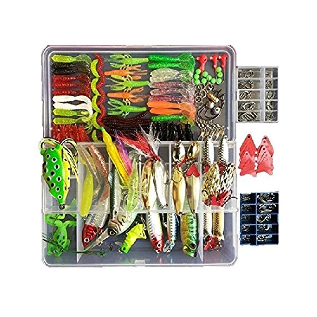台風ベーリング海峡緊急釣りギアルアーキットセット270個釣りルアー餌タックルスピナーベイトを含むプラスチックワームジグトップウォータールアー付きタックルボックス
