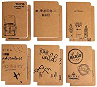 (Adventure and Travel Designs) - Kraft Notebook - 12-Pack Lined Notebook Journals, Pocket Journal for Travellers, Diary, Notes - 6 Different Adventure and Travel Designs, Soft Cover, 80 Pages, Brown, 10cm x 15cm