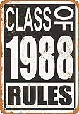 白い桜雑貨屋 ブリキ 看板 Class of 1988 Rules アメリカン 看板 おしゃれ 雑貨 通販 居間、寝室、台所、バー バスルーム 壁飾り20x30cm