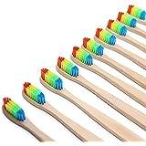 天然竹歯ブラシ 竹の歯ブラシ ナイロン毛 8本  (カラー)