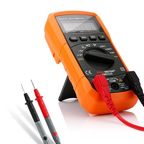 FlePow デジタルマルチメーター バックライトLCD付き 電圧・電流・周波数・抵抗・導通測定テスター