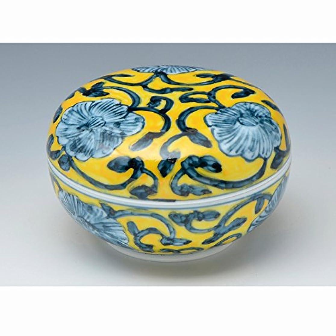 ドループ浴無駄にkiyomizu-kyo Yaki Ware。日本磁器kogo Incense Burner Ayellowアラベスクwith Paper Box。kymz-frk105