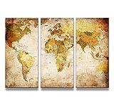 レモンツリーART 世界地図 キャンバスアートパネル アンティーク風世界地図 アートフレーム キャンバス絵画 インテリアパネル インテリア絵画 インテリア装飾 壁飾り ワールドマップ 木枠付きの完成品(40cm*80cm*3パネル)