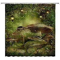 GooEoo キノコの装飾霧森ファンタジー風景おとぎ話グリーンツリーおとぎ話ランタンワイルドフラワーには12個のプラスチックフックが含まれていますモダンなバスルームカーテン71x71インチ