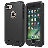 【ZVE】iPhone7ケース 完全防水ケース IP68 アイフォン7 ケース 4.7インチ スマホケース 防塵 防雪 耐衝撃カバ ー ストラップ付き 衝撃吸収 指紋認識可 薄型軽量 本体液晶保護フィルム付き(ブラック)