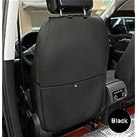 Dshall キックガード 車用 シートバックプロテクター ネットポケット付き 子供のためのシートバックカバー カーグッズ 取付簡単 愛車のシートの傷、汚れ防止 -ブラック