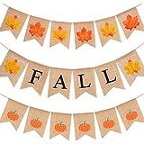 Tatuo 感謝祭 ハッピーフォール 3セット 79インチ スワローテール 感謝祭 カラフル 黄麻布 バナー 感謝祭 装飾 フルカラーまたは秋の香り