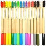 Lazayyii 成人 竹製の歯ブラシ オーラルケア 竹繊維 やわらかい歯ブラシ 人気16本 (マルチカラー)