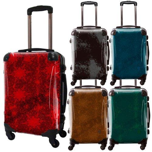 シックカラーアートスーツケース/エルプラス/ベーシック/フレーム4輪/TSAロック/機内持込可能/キャラート/斑 マダラ まだら マーブル 宇宙 グリーン ブラウン ネイビー レッド ブラック/CRA01-017
