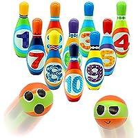 yoptote キッズ ボーリングセット 10個のカラフルなPUピンと2つのボール アウトドア 芝生 庭 ゲーム パリーセット 教育玩具 幼児 男の子 女の子 3 4 5 6 7
