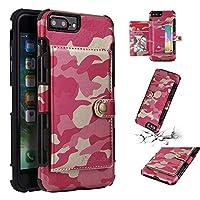 JDDR ケース、 豪華なビジネス迷彩屋外 PU レザーフリップフォリオ財布ケースマルチカードスロット耐久耐震保護カバーの iPhone 6S Plus / 6 Plus / 7 Plus / 8 Plus (5.5 インチ) (色 : ローズ)