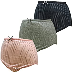 ローズマダム 産褥ショーツ 選べる3枚組 L-LLサイズ (C-ドット柄/黒・ピンク・グレー)115-0810-01