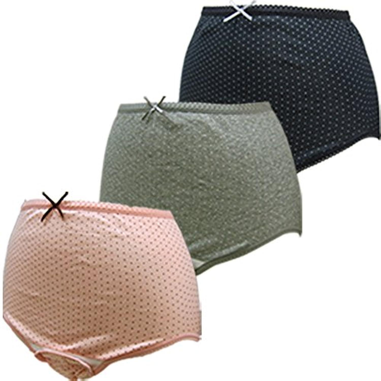 ローズマダム 産褥ショーツ3枚組 綿100% お得セット ロングセラー 人気 出産準備 大きなサイズもあり C-BKドットPKドットGRドット M-L 115-0810-01-93-07