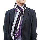 (Searaci) メンズ 紳士 大人 シック デザイン マフラー スタイル ストール カラフル ブラック ブラウン グレー ベージュ ワインレッド ネイビー グレー ホワイト ストライプ (パープル)