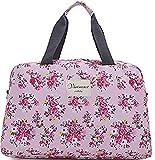 (ハナハナ) HANAHANA 花柄 軽量 ナイロン ボストンバッグ 旅行バッグ 2サイズ 肩掛け OK ショルダーストラップ 付 レディース i020 (ラージ, ピンク)