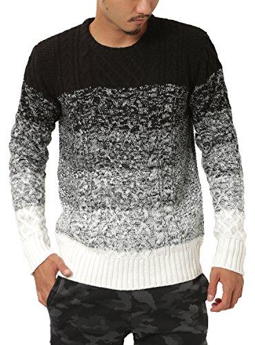 JIGGYS SHOP (ジギーズショップ) ニット セーター メンズ クルーネック ケーブル編み 厚手 長袖 防寒 ボーダー アメカジ M A グラデーション