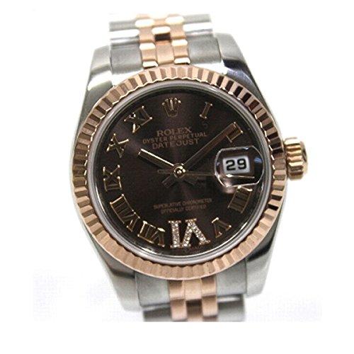 ROLEX(ロレックス) デイトジャスト VIダイヤ レディース腕時計 自動巻 K18PG×SS チョコレートブラウン ローマ文字盤 ルーレットランダムシリアル 179171 仕上げ済み [中古]