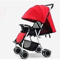 赤ちゃんのベビーカー多機能乳母車折り畳み超軽量は、夏の子供のカートをリクライニング座ることができます (色 : Red)