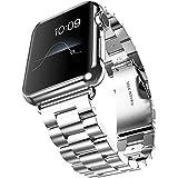 Fly Skyline 腕時計バンド Apple Watch i Watch 38 42mm アップルウォッチベルト ステレンス 金属 連結器等5点セット 黒 ブラック 3連駒 スマートフォンアクセサリ