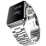 Fly Skyline 腕時計バンド Apple Watch i Watch 38 42mm アップルウォッチベルト ステレンス 金属 連結器等5点セット 黒 ブラック 3連駒 スマートフォンアクセサリ (38mm-シルバー)