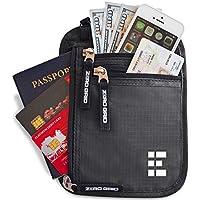 Zero Grid Neck Wallet w/RFID Blocking- Concealed Travel Pouch & Passport Holder (Shadow Grey)