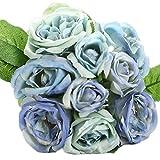 Amazon.co.jpDgrb 1バンチロータス花束ノーブル軽いハンドメイドブライダルフラワーホームウェディングデコレーションパック9PCSの青い花