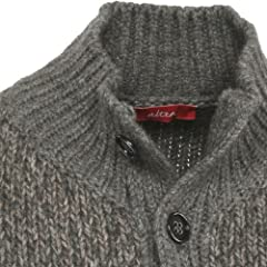 Wool Mock-neck Sweater Vest: Grey / Brown