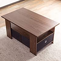 【お得な収納ケース2個付き】 使いやすい収納センターテーブル(80×48cm) すっきり片付く収納テーブル 中下段で3分割 木製ローテーブル 訳有り (ブラウン色)