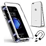 iPhone 6S Plus 5.5インチ用磁気吸着ケース、SevenPanda iPhone 6 Plusクリアーメタルバック[メタルフレーム]フルボディスリムフィットウルトラシンケース、ラグジュアリー透明マグネットケース強化ガラス強化ガラス - 透明+ホワイト