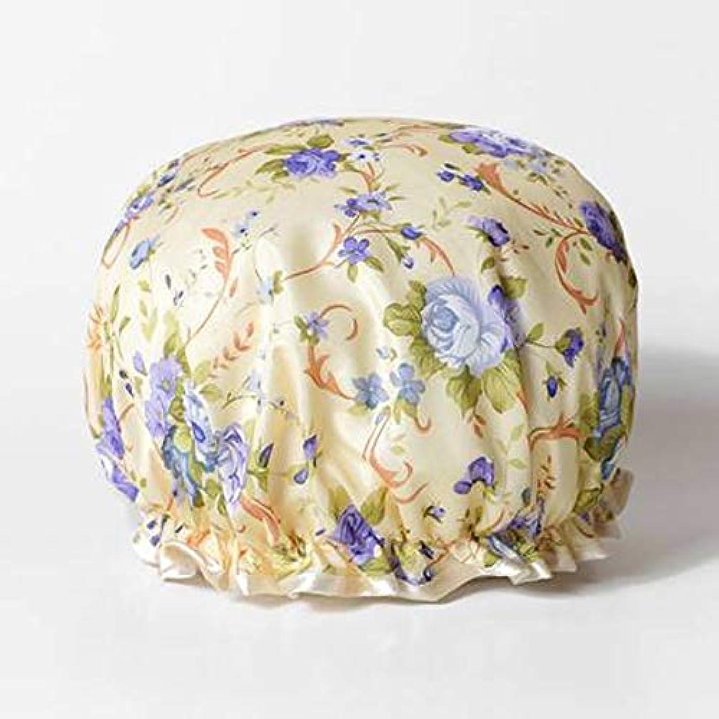 腫瘍道定期的なZhenxinshiyi 厚く漫画かわいいホーム入浴キャップ大人のシャワーキャップ女性の防水防曇キャップキッチンキャップ二重層デザインかわいいプリントパターン防水裏地 (Color : Purple)