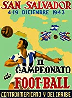 エルサルバドル1943San Salvador II Campeonato de foot-ball Football Soccer中央アメリカAmericanビンテージ旅行広告アートポスター印刷。メジャー10x 13.5インチ