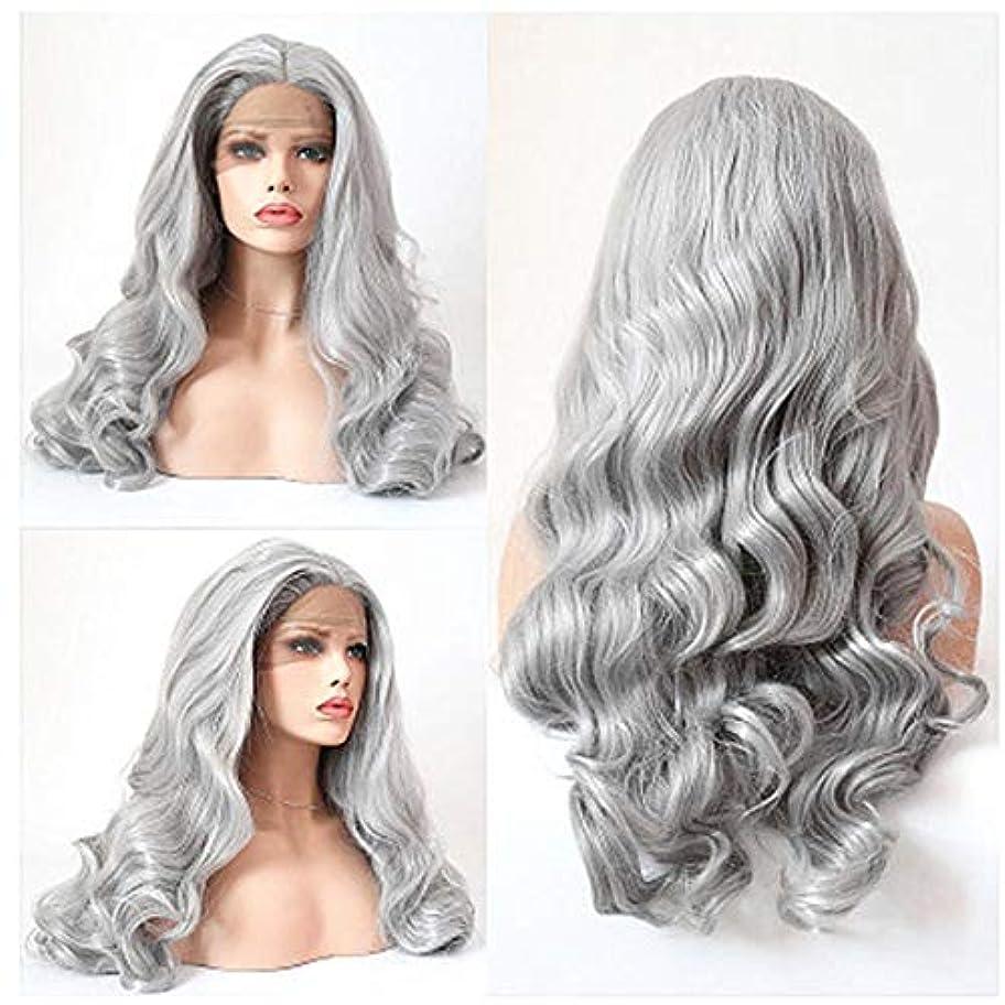スプレー基本的な圧縮するZXF おばあちゃんの灰色のレースのヨーロッパとアメリカの女性のファッションビッグウェーブ長い巻き毛の化学繊維の毛髪のかつらのセット 美しい