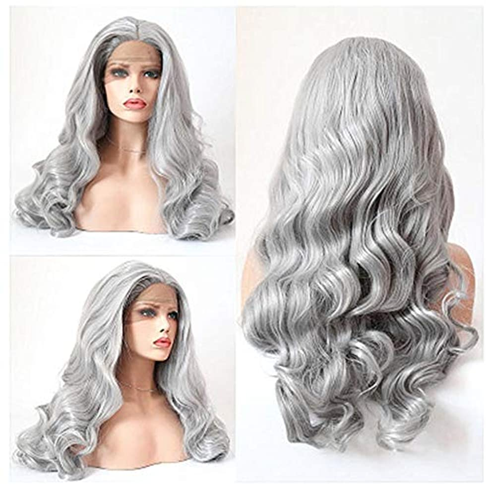 バン下抱擁ZXF おばあちゃんの灰色のレースのヨーロッパとアメリカの女性のファッションビッグウェーブ長い巻き毛の化学繊維の毛髪のかつらのセット 美しい