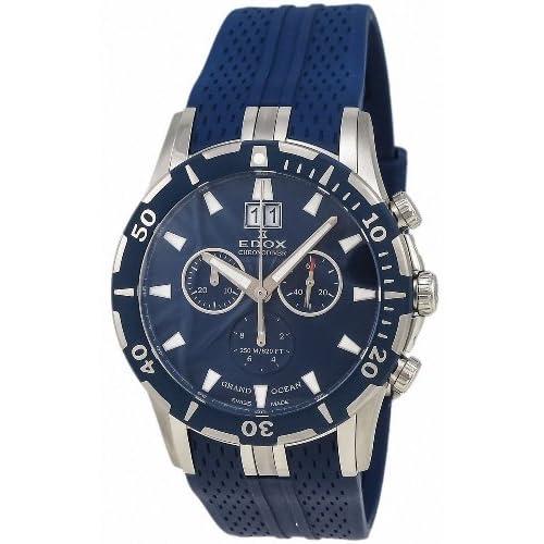 [エドックス] EDOX 腕時計 Grand Ocean Chronodiver Big Date Chronograph Blue PVD Mens Luxury Sport Watch クォーツ 10022-357B-BUIN [TimeKingバンド調節工具& HARP高級セーム革セット]【並行輸入品】