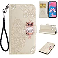 Galaxy A30 Case,Galaxy A30 Cases with Card holder,Luckyandery Shockproof Stand Flip Leather Cover Card Slot Holder with Kickstand for Samsung Galaxy A30,Gold