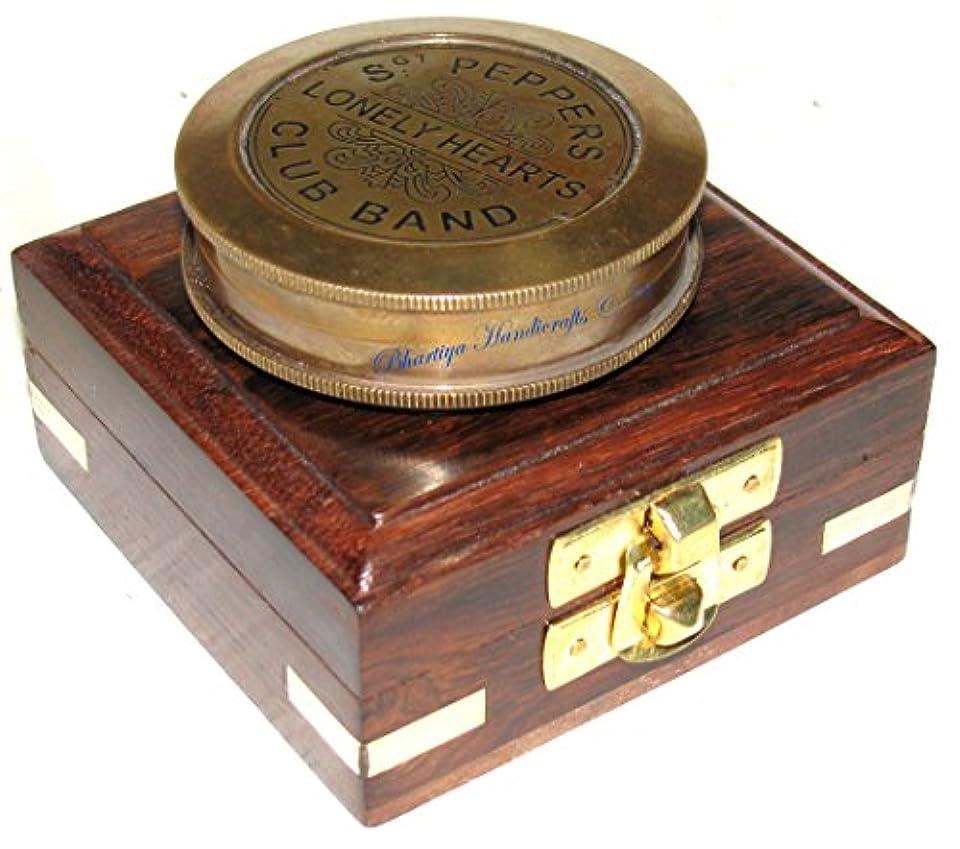 手段キリスト教ライバルBhartiya Handicrafts真鍮製ボタン付きポケットコンパス木製ボックス(ボタン付きアンティークポリッシュ)