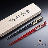 越前漆器 夫婦箸 市松松竹梅 木箱入り えちぜん箸 ギフト 結婚祝い 内祝い 日本製