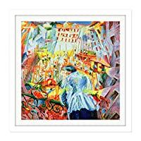 Boccioni Street Enters House Futurist Painting Square Wooden Framed Wall Art Print Picture 16X16 Inch 通り家ペインティング木材壁画像