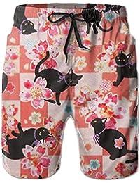 黒猫と桜 メンズ サーフパンツ 水陸両用 水着 海パン ビーチパンツ 短パン ショーツ ショートパンツ 大きいサイズ ハワイ風 アロハ 大人気 おしゃれ 通気 速乾