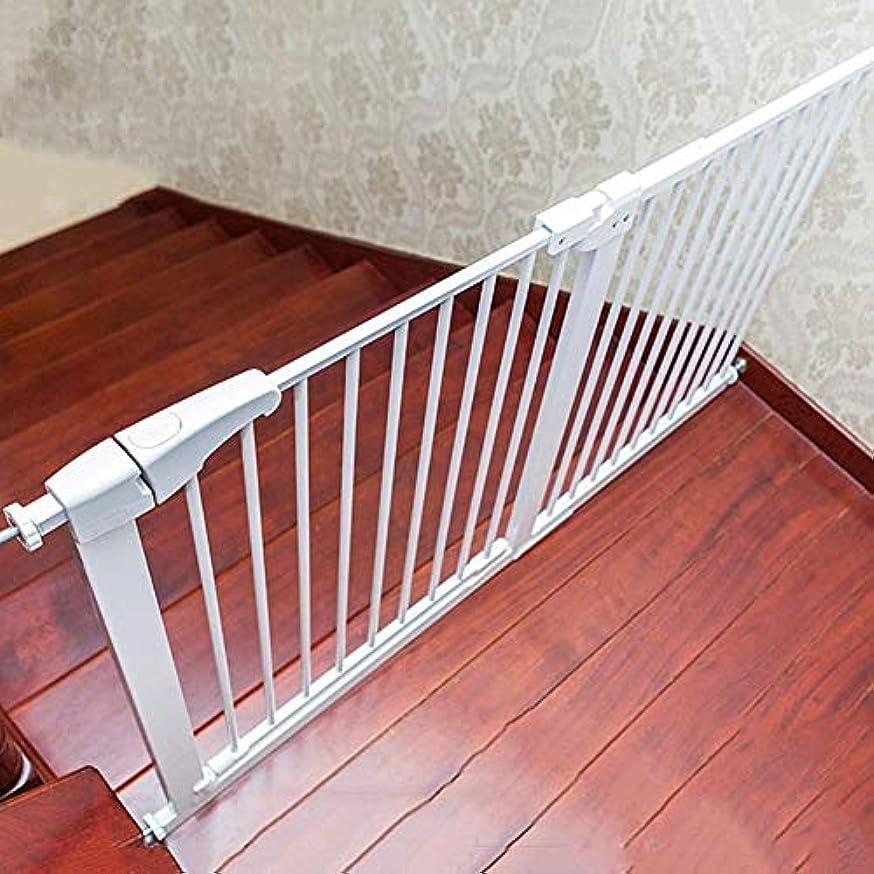 シットコム寓話欲求不満育児 ベビーゲート 赤ちゃんの安全ゲート簡単にドア/階段のために、ホワイトメタル階段ゲートを設定するには ベビーフェンス