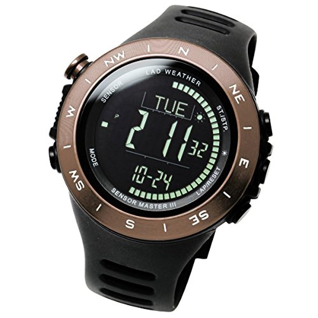 レインコートクリープ下に[ラドウェザー]トレッキング腕時計 高度計 気圧計 気温計 天気予測 デジタルコンパス アウトドアウォッチ lad024