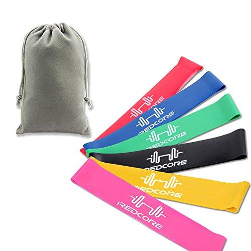 トレーニングラバーバンドミニフィットネスループバンドエクササイズチューブ強度別6本セット収納袋き