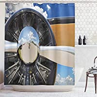 (180cm W By 180cm L, Multi 8) - Ambesonne Aeroplane Decor Collection, Propeller and Engine of Aeroplane Clouds Flight Historic Metal Oldwar Bird Transport Picture, Polyester Fabric Bathroom Shower Curtain Set with Hooks, Mustard