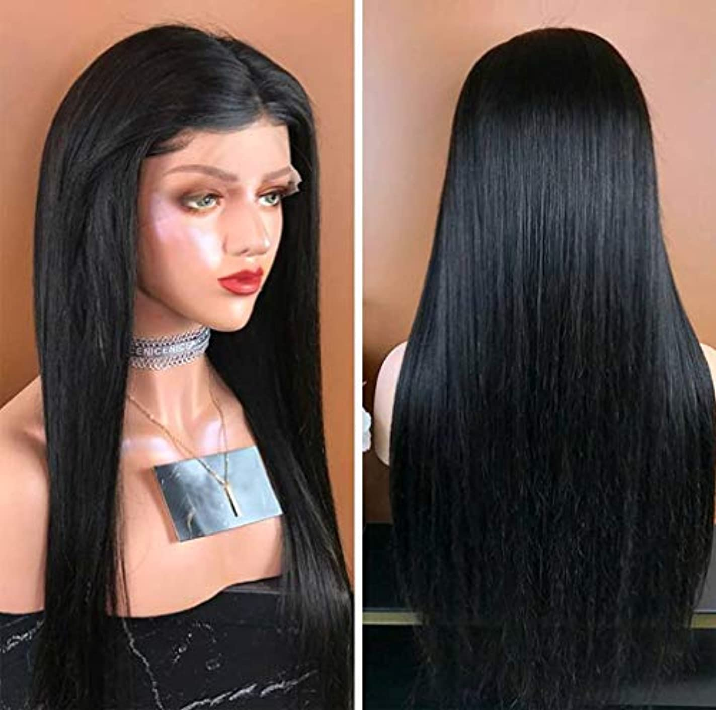 ベテラン熟す警報女性360フルレースかつらブラジルバージンストレート人間の髪グルーレスショート人間の髪かつらベビーヘアショートレースかつら調節可能なストラップ