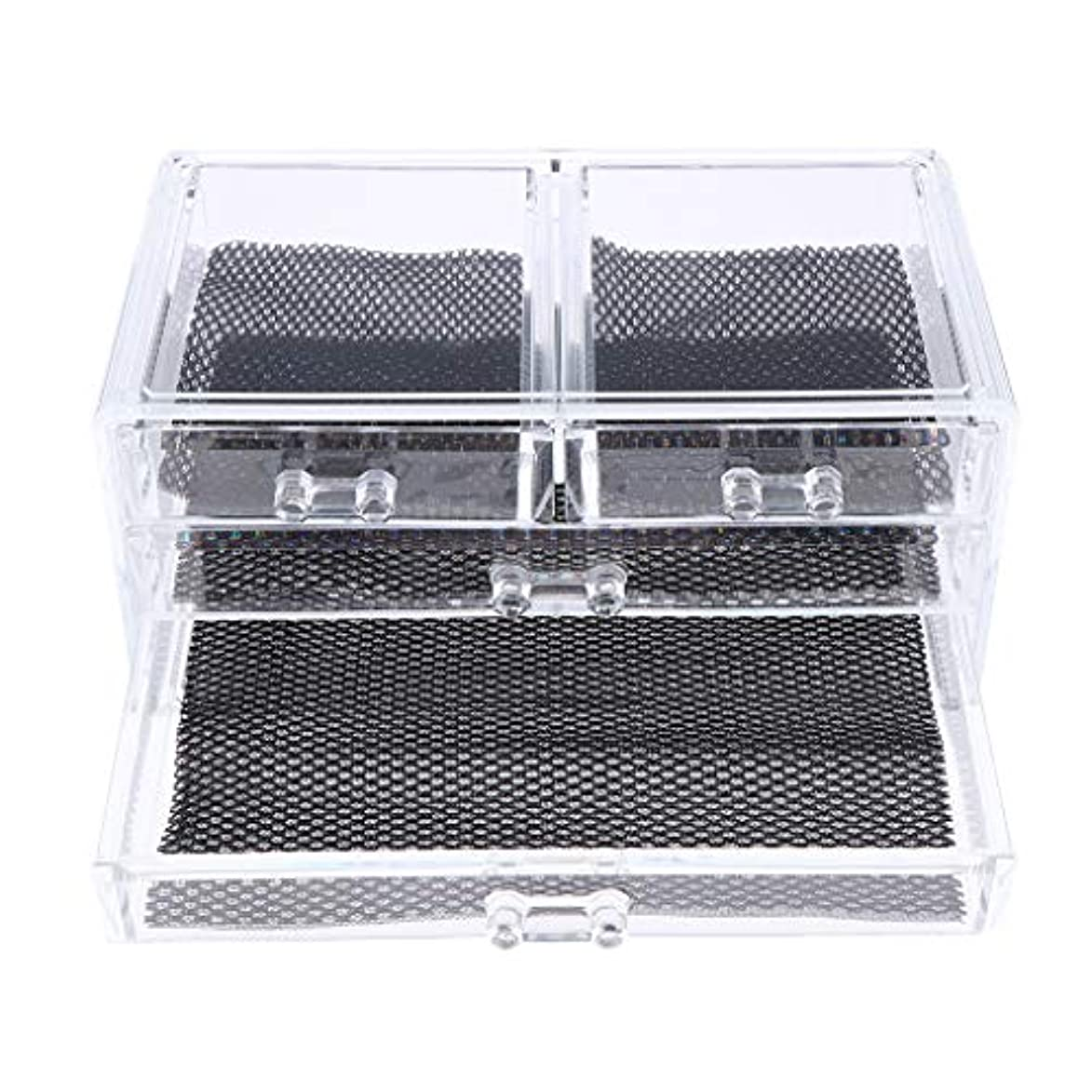 Perfeclan 化粧品収納ボックス メイクケース 化粧品収納整理 防塵 透明 コスメ収納ボックス 引き出し式 全3種 - 4つの引き出し