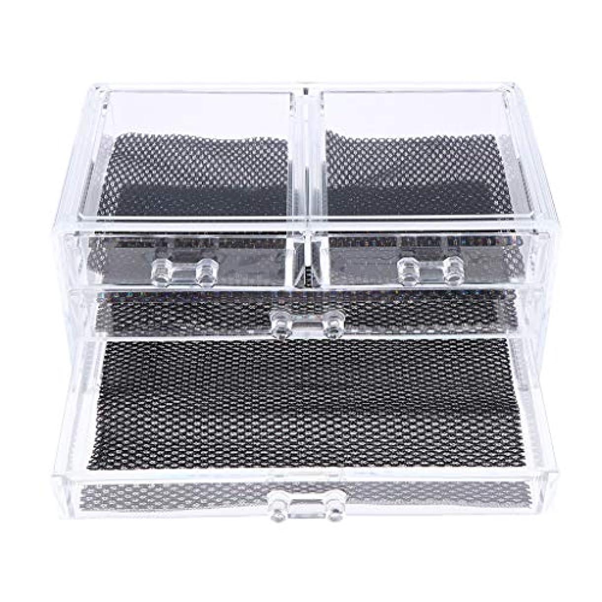 酔っ払い召集する人気のPerfeclan 化粧品収納ボックス メイクケース 化粧品収納整理 防塵 透明 コスメ収納ボックス 引き出し式 全3種 - 4つの引き出し