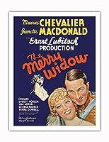 The Merry Widow - 主演 Maurice Chevalier, Jeanette MacDonald - Ernst Lubitsch監督 - ビンテージなフィルム映画のポスター c.1934 - アートポスター - 51cm x 66cm